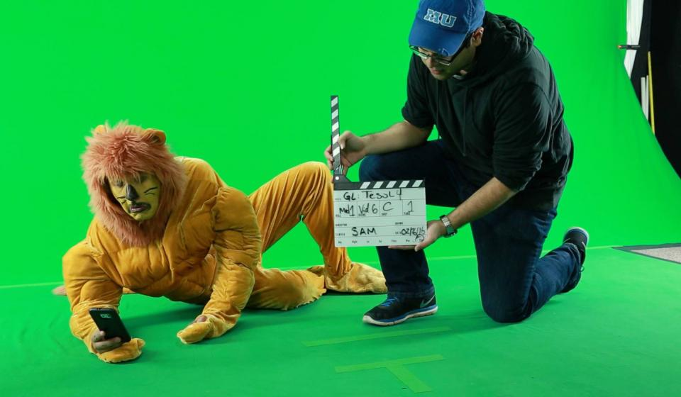 Retaking a scene with a lion character